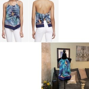 EXPRESS | NWOT Tropical Tie Back Chain Halter Top